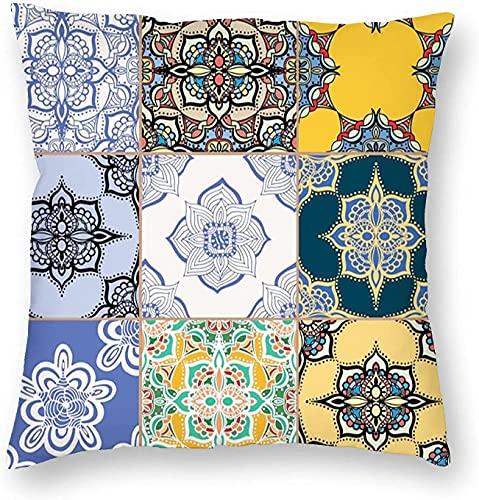 Patrones marroquíes de azulejos portugueses varios tonos texturas impresión bohemia multicolor cuadrado impreso algodón funda Slipover almohada-45,7 x 45,7 cm