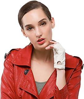 Nappaglo donne sta guidando i guanti di pelle nappa di mezzo dito i guanti senza dita fitness in guanti per guidare la bic...