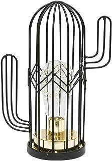 The Home Deco Factory la9968 l mpara de mesa Cactus LED 18 cm, metal, negro