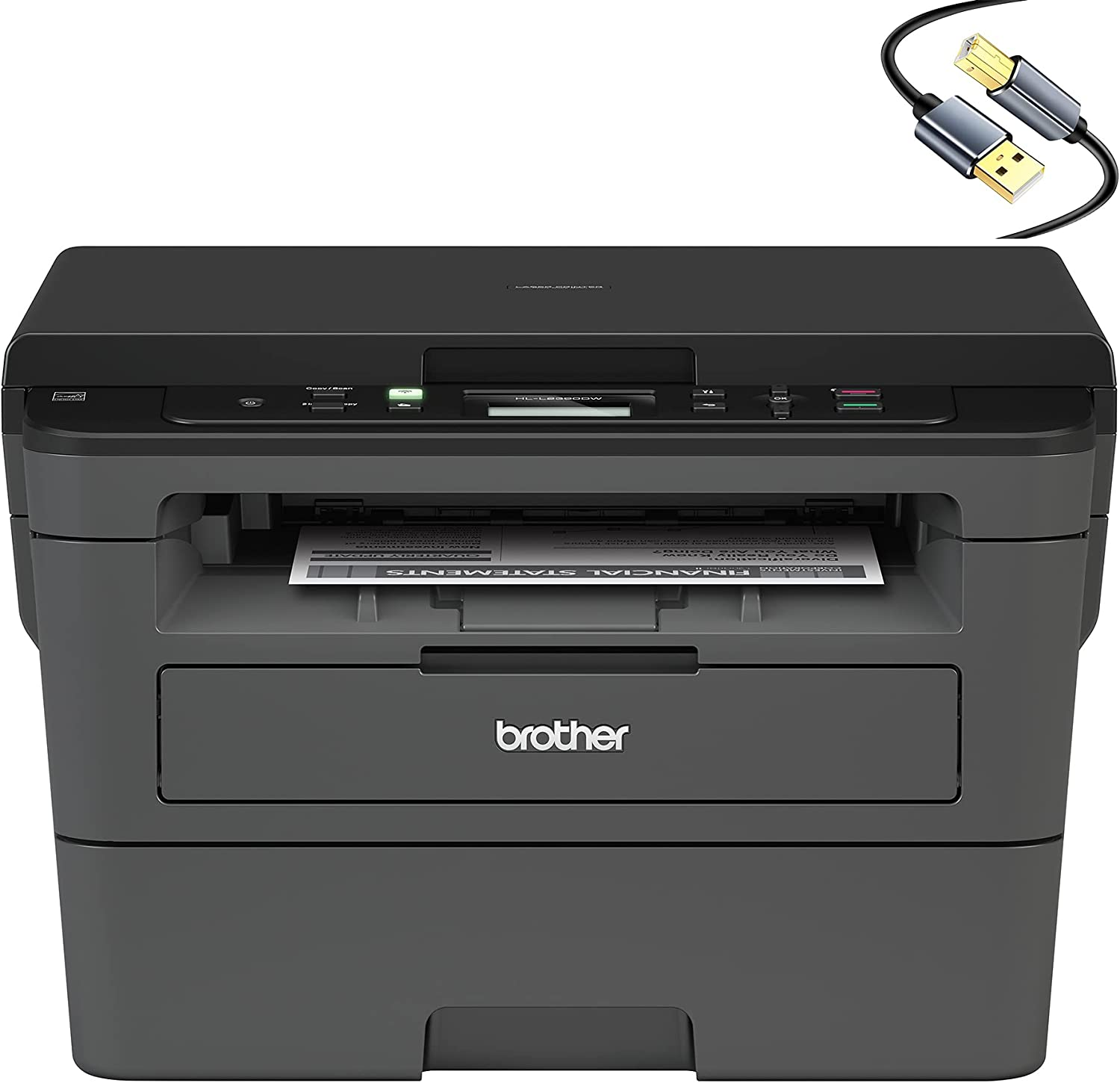 Brother Compact Monochrome Laser Wireless All-in-One Printer HL-L2390D for Business Office - Flatbed Print Copy Scan - 32ppm Print Speed, Duplex Two-Sided Print, 250-Sheet, Tillsiy USB Printer Cable