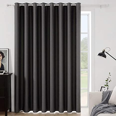 Amazon Com Miulee Grey Blackout Curtain For Living Room Sliding Glass Door Vertical Blind For Room Darkening Extra Wide Window Drapes Grommet Top Room Divider Panel For Bedroom Patio 1 Pc 100 X 84