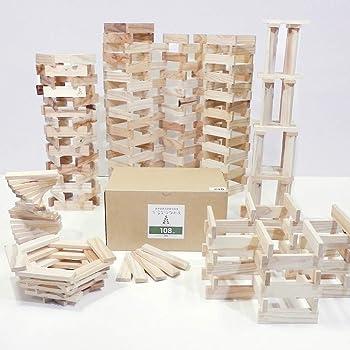 からからつみき108 (9×27×108mm) 240ピース入 知育玩具 国産 無塗装 木のおもちゃ