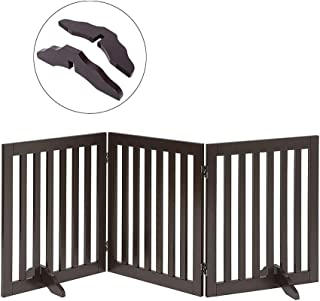 Total Win Freestanding Pet Gate for Dogs with 2PCS Support Feet, Foldable Wooden Dog Gates for Doorways Stairs, Indoor Pet Puppy Safety Fence, Espresso