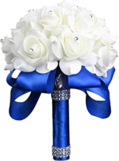 StillCool Wedding Bouquet Crystal Pearl Silk Roses Bridal Bridesmaid Wedding Hand Bouquet Artificial Fake Flowers (18cm x 24cm, Royal-blue)