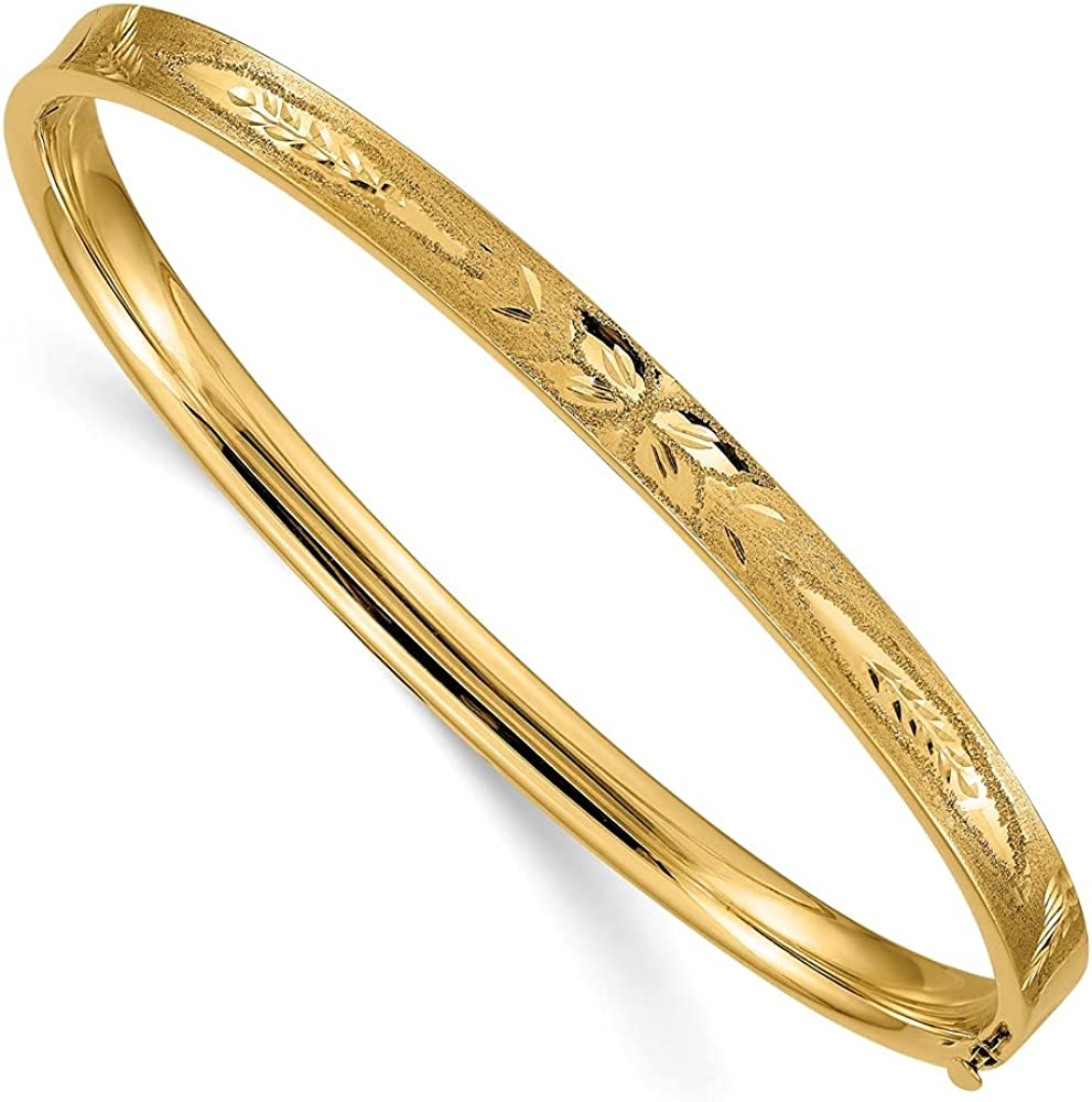14k Yellow Gold 4.75mm Oversize Concave Hinged Bangle Bracelet Cuff Expandable Stackable 8 Inch Fine Jewelry For Women Gifts For Her