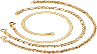 18K Yellow Gold over Sterling Silver 3 piece Figaro, Herringbone and Rope Ankle Bracelet Set(2mm), 10 inches