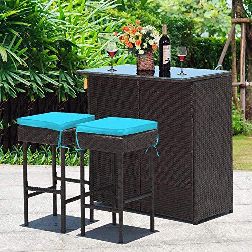 YRRA Patio Bar Set 3 Stück Outdoor Rattan Wicker Bar Set mit 2 Kissen Hocker & Glasplatte Tisch Gartenmöbel Set für Patios Hinterteile (rot)-Türkis