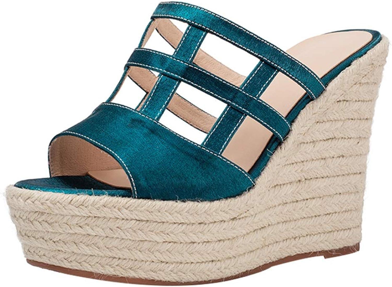 Frauen Sandalen Sommer High Heels Prom Party Schuhe Plateauschuhe Rmische Damenschuhe Hohe Plattform Design, Absatzhhe 12cm (Farbe   Blau, Größe   39 US7.5)
