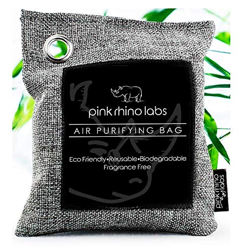 Bamboo Charcoal Air Purifying Bag Odor Eliminator for Home and Car- Kid and Pet Friendly Air Fresheners and Odor Absorber - Activated Bamboo Charcoal 1 Pack (500g)- PINK RHINO LABS