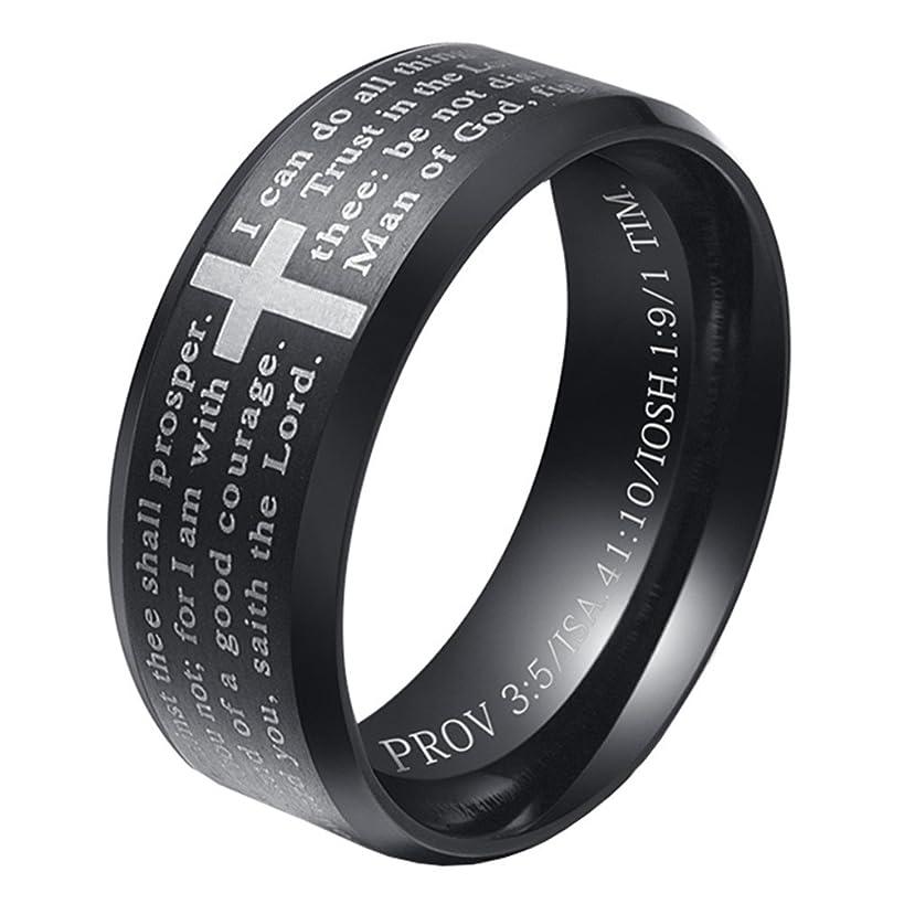 HIJONES Men's Stainless Steel Bible Verse Lord's Prayer Cross God Ring 3 Colors(Black/Gold/Silver)