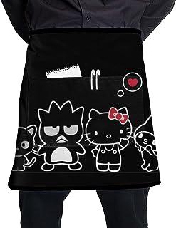 Galirvc - Delantal corto con bolsillos en el pecho, delantal con bolsillo y diseño de Hello Kitty en la cintura, unisex, para camarero, cocina, hornear, cocinar, agua