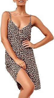 575b182a781 Gyouanime Halter Neck Sleeveless Womens Dress Leopard Splice Print Button  Casual Dress Outwear Short Skirts