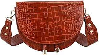 Luxury Women Crossbody Bag Soft Leather Shoulder Bags For Ladies Handbags Designer Crocodile Semicircle Saddle Bags