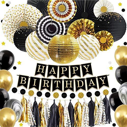 Black and Gold Party Decoration -DIY Mens Party Set, Graduation Party, Bachelor (VRZ) Party Supplies, Dads, Grandpa Birthday Decoration Set