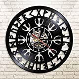 KDBWYC Record Nordic Amulet Helmet Awe Reloj de Pared de Vinilo Mago nórdico Brújula vikinga Vintage Reloj Negro silencioso 12 Pulgadas
