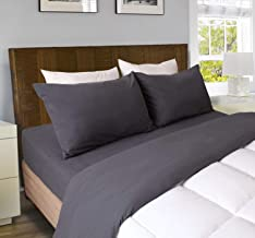 RAMESSES Microfiber Luxury Flannel Sheet Set - Deep Pocket - Super Soft Bedding Sets -Warm&Soft.4-Piece Bedding Collection (Charcoal, Full)