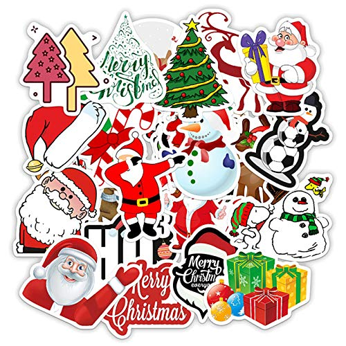 50pcs Christmas Santa Claus Stickers for Kids Teens Adults, Christmas Stickers Water Bottle Vinyl Stickers Decals for Computer Laptop Travel Case Skateboard