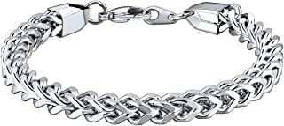 Bandmax Stainless Steel Silver Men Women Metal Link Chain Bracelet Jewelry Engraved Available 19/21/23CM Length,6/10/15MM ...