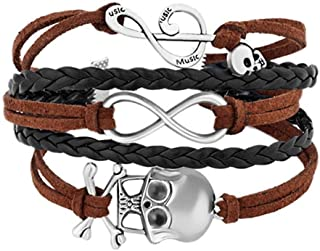 EV.YI Jewels Anchor Wheel Tree of Life Hearts Infinity Love Skull Guitar Owl Dog Handmade Leather Rope Braided Bracelet Wristband