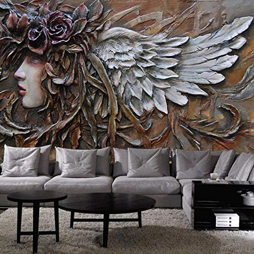Mural Wallpaper 3D-Stereo Relief Angel Figure Wall Painting Living Room Bedroom Cafe European Style Background Wall Decor