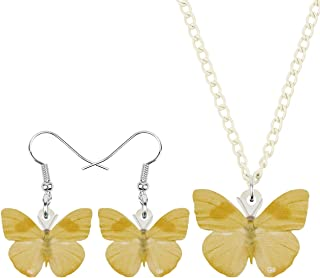 WEVENI Acrylic Elegant Butterfly Necklace and Earrings Butterfly Jewelry Sets Insect Pendant Dangle Drop for Women Girls G...