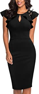 Women's Vintage Ruffle Trim Lace Floral Sleeveless Cut Out Bodycon Cocktail Sheath Formal Dress