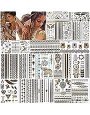 URAQT metallic tatoeages, 20 vellen tijdelijk tattoo-papier met 200 ontwerpen, waterdicht verwijderbaar goud zilver nep sieraden body art sticker voor volwassenen en kinderen
