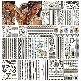 URAQT Tatuajes Temporales Metálicos, 20 Hojas de Papel de Tatuaje a Prueba de Agua con 200 Diseños, Joyería de Plata Falsa Extraíble de Oro de Moda Pegatina de Arte Corporal para Adultos y Niños