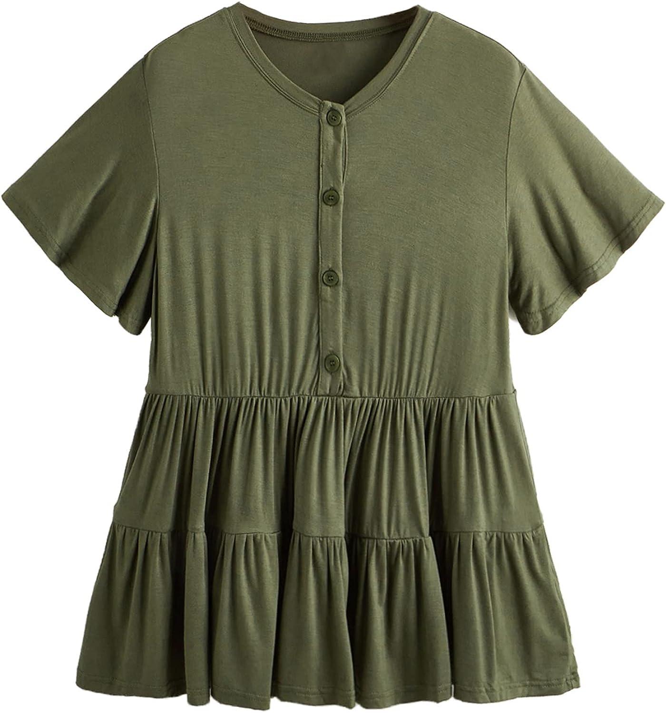 Romwe Women's Loose Ruffle Hem Short Sleeve High Low Peplum Blouse Top