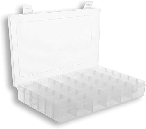 Plastic Organizer Box with Dividers | 36 Compartment Organizer | Jewelry Organizer Box | Clear Organizer Box for Bead...
