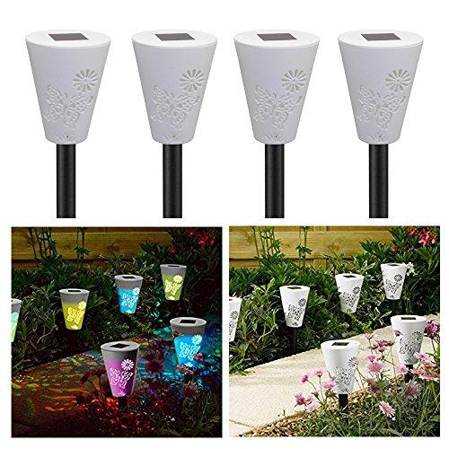 Verpakking met 4 kleurwisselende vlinder silhouet stake lichten Lawn Pathway tuinlamp CIS-57660