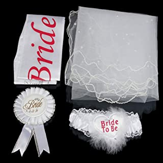 White Bride to Be White Garter Hen Night Bachelorette Party Shower Accessory、HG Celebrations & Occasions
