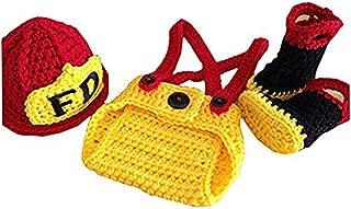 Pinbo Baby Boys Girls Photography Prop Crochet FD Fireman Hat Diaper Boots