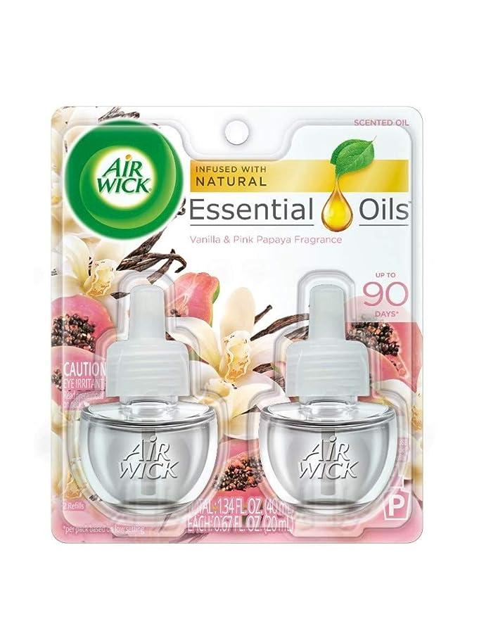 佐賀なす委託【Air Wick/エアーウィック】 プラグインオイル詰替えリフィル(2個入り) バニラ&ピンクパパイヤ Air Wick Scented Oil Twin Refill Vanilla & Pink Papaya (2X.67) Oz. [並行輸入品]