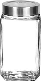 Piramal Glass Food Grade Cubical Clear Glass Jar for Kitchen Storage | Spices Jar | Glass Jar for Masala, Honey, Jams, Pic...