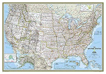 National Geographic  United States Classic Wall Map  43.5 x 30.5 inches   National Geographic Reference Map