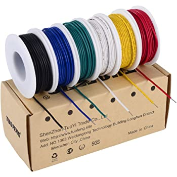 tuofeng 22 awg solid wire-solid wire kit-6 different colored 30 feet spools  22 gauge jumper wire- hook up wire kit - - amazon.com  amazon.com
