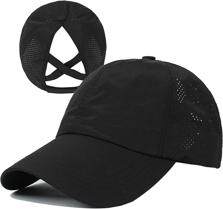 HGGE Womens Criss Cross Ponytail Baseball Cap Adjustable High Messy Bun Ponycap Quick Drying Hat