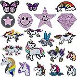 MUSEDAY 20 parches de unicornio mezclados para planchar, coloridos para ropa, parches para niños, parches bordados, apliques adhesivos para camiseta, bolsa de ropa, chaqueta, mochila y zapatos