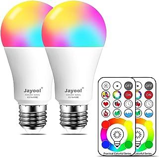 Jayool 10W E27 RGBW LED Bombillas Colores Bombilla con Control Remoto, Edison Regulable Cambio de Color con 120 Colores, Memoria & 3-Camino, Luz Blanco & Equivalente de 60 vatios (2 Unidades)