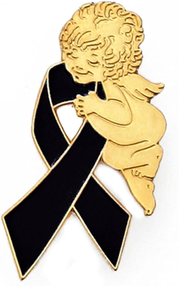 PinMart Black Awareness Ribbon Religious Spiritual Angel Enamel Lapel Pin