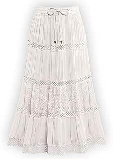 Crinkled Eyelet Lace Tiered Ivory Skirt with Elastic Waistband - Stylish Summer Skirt
