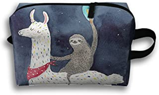 Sloth Riding Llama Painting Travel Pouch Storage Bags Baskets Cosmetic Makeup Bag (10 X 4.9 X 6.3)