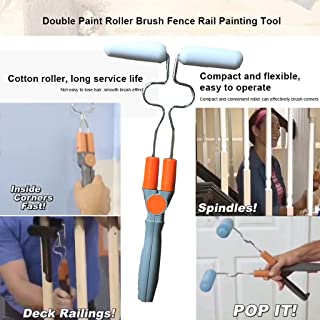 m·kvfa Double Paint Roller Brush Fence Rail Painting Tool Adjustable Without Dead Angle DIY Handle Tool Household Use Wall Decorative Paint Roller Brush Easy to Operate