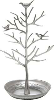 Inviktus Silver Birds Tree Jewelry Stand Display Earring Necklace Holder Organizer Rack Tower-silver