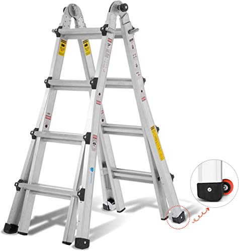 2021 ORIENTOOLS Aluminum Extension Ladder with wholesale 300 lb Duty Rating (Load Capacity Type IA), Model 17-Foot Durable and Multi-Purpose 2021 Ladder with Two Wheels sale
