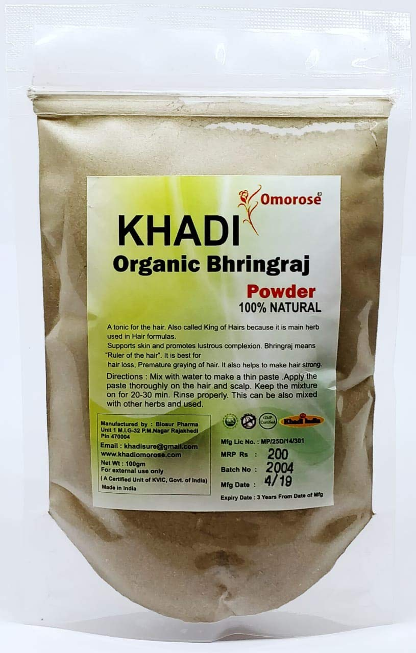 DealsGood Khadi Omorose Bhringraj Powder 100 Industry No. 1 Organic Grams 100% Super sale period limited