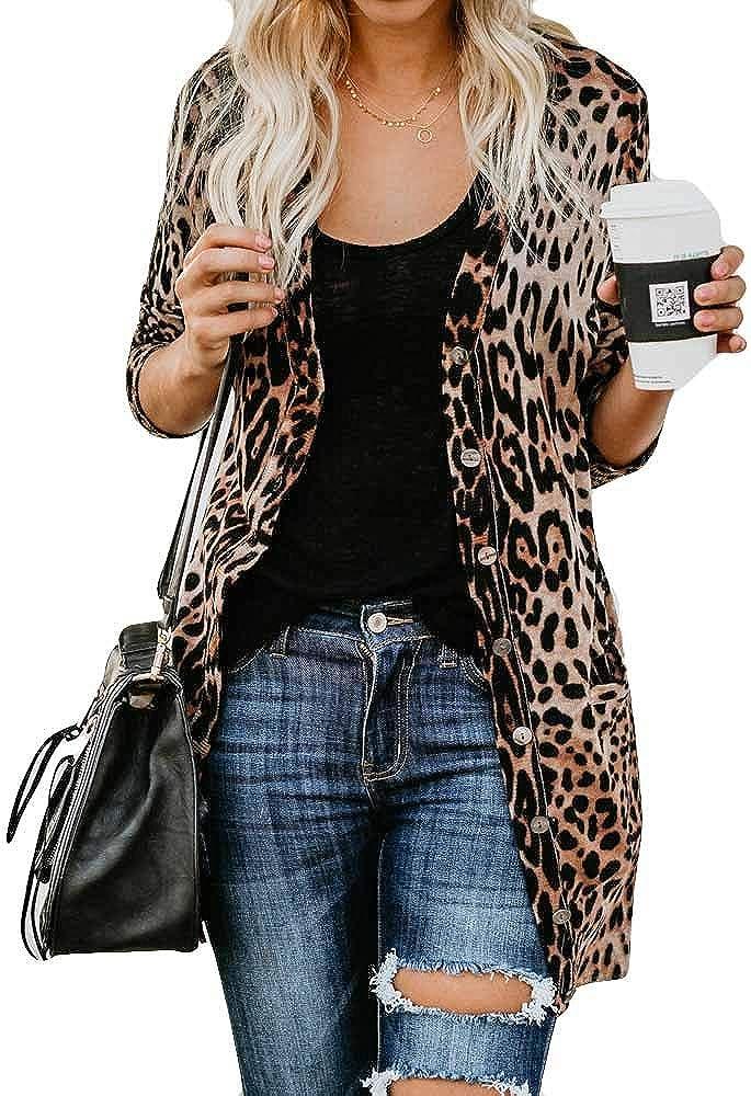 Fashion Virginia Beach Mall Women's Leopard Print Wholesale Button Down Front Lightweight Open