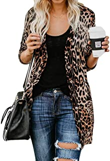 PEIZH Womens Leopard Print Long Sleeve Long Cardigan Sexy V-Neck Leisure Coat Leopard Print Long Cardigan