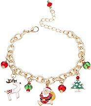 SODIAL Bracelet en Or Bracelet a Chaine de Pendentif de Pere Noel Bijoux de Mariage de Fete des Filles et des Femmes Cadeau de Noel